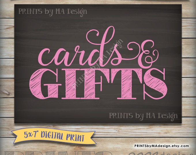 "Cards & Gifts Baby Shower Cards and Gifts Sign, It's a Girl Gift Sign, Baby Girl Pink 5x7"" Chalkboard, Instant Download Digital Printable"