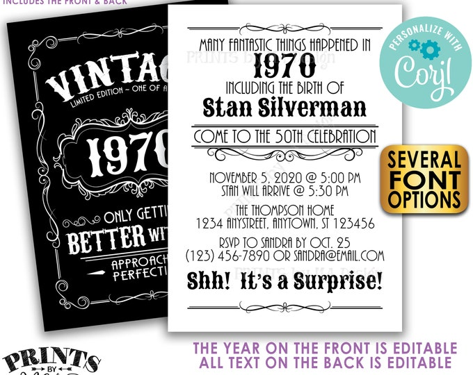 "Vintage Surprise Birthday Party Invitation, Better with Age Bday Invite, Whiskey, Two PRINTABLE 5x7"" Files <Edit Yourself with Corjl>"