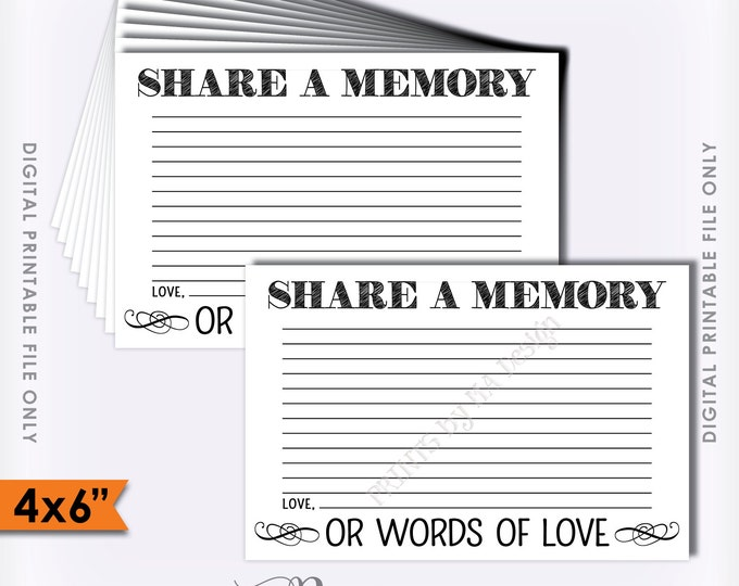 "Share a Memory Card, Share Memories, Please Leave a Memory, Memorial Card, Write a Memory, 4x6"" Instant Download Digital Printable File"