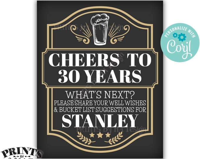 "Bucket List Sign, Cheers to Years Party Decoration, Cheers and Beers, Custom PRINTABLE 8x10/16x20"" Sign <Edit Yourself with Corjl>"