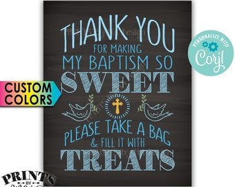 "Thank You for Making My Baptism so Sweet Please take a Bag and Fill it with Treats, PRINTABLE 8x10"" Sign <Edit Yourself with Corjl>"
