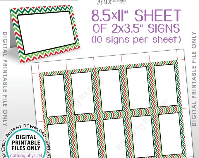 "Christmas Food Labels, X-mas Table Tent Menu Labels, Ugly Christmas Sweater Party, Chevron PRINTABLE 8.5x11"" Instant Download Buffet Cards"