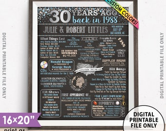 "30th Anniversary Gift, Flashback to 1988 Flashback 30 Years Married in 1988 Anniversary Poster, Chalkboard Style PRINTABLE 8x10/16x20"" Sign"