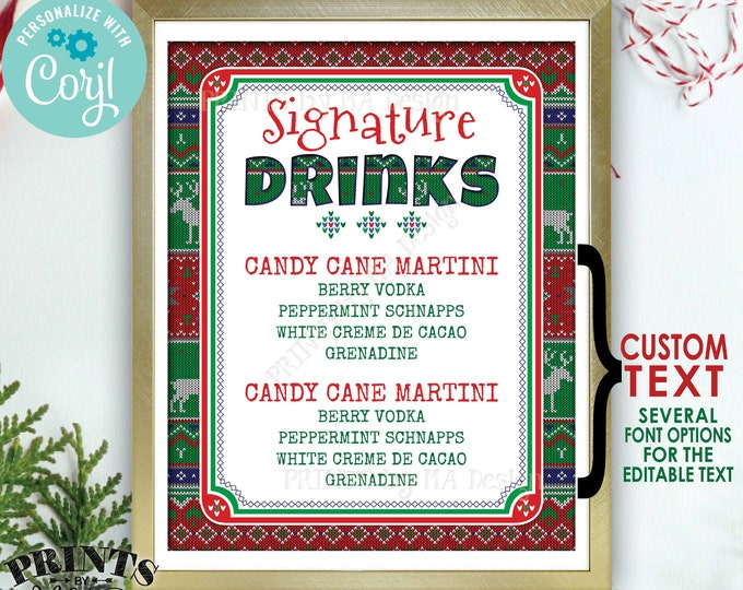 """Signature Drinks Sign, Ugly Christmas Sweater Party, X-mas Party Drinks, Custom PRINTABLE 8x10/16x20"""" Sign <Edit Yourself with Corjl>"""