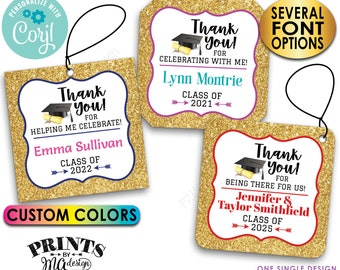 """Graduation Thank You Tags, Gold Glitter Grad Party Favors, Digital PRINTABLE 8.5x11"""" File of 3"""" Square Cards <Edit Yourself with Corjl>"""