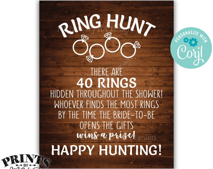 Ring Hunt Game Sign, Bridal Shower Ring Scavenger Hunt Game for Wedding Shower, PRINTABLE Rustic Wood Style Sign <Edit Yourself with Corjl>