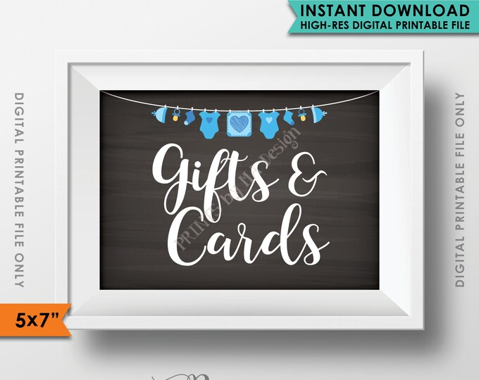 "Cards and Gifts Sign, Baby Shower Gift Table Sign, Shower Gifts, Gifts & Cards, It's a BOY 5x7"" Chalkboard Style Instant Download Printable"