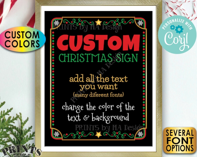 """Custom Christmas Sign, Choose Your Text & Colors, One Custom PRINTABLE 8x10/16x20"""" Portrait Xmas Party Sign <Edit Yourself with Corjl>"""