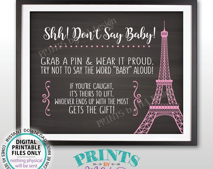 """Don't Say Baby Sign, Paris Theme Baby Shower Activity, Grab a Pin Game, PRINTABLE 8x10"""" Chalkboard Style Eiffel Tower Sign <ID>"""