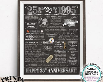"""25th Anniversary Poster Board, Back in 1995 Flashback 25 Years, Married in 1995 Anniversary Gift, PRINTABLE 16x20"""" 1995 Sign, Silver <ID>"""