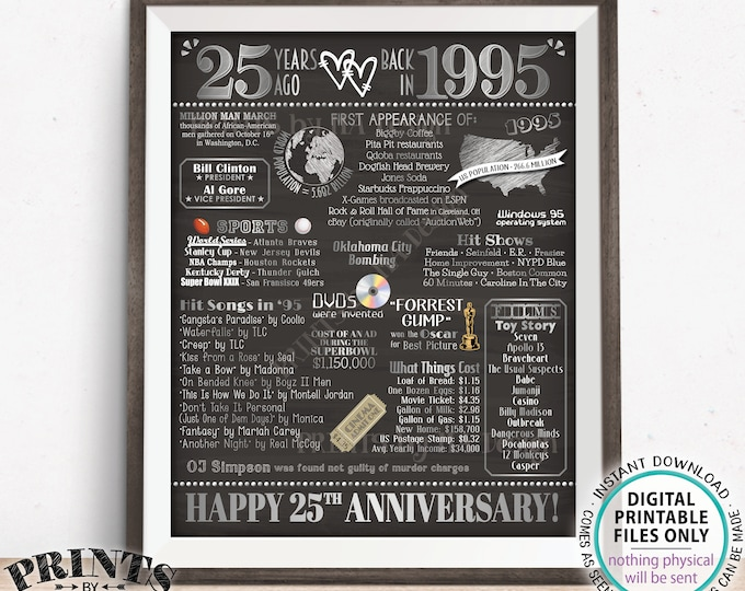 "25th Anniversary Poster Board, Back in 1995 Flashback 25 Years, Married in 1995 Anniversary Gift, PRINTABLE 16x20"" 1995 Sign, Silver <ID>"
