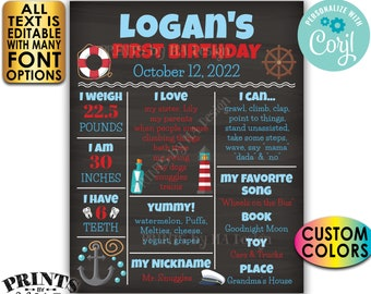 Nautical First Birthday Poster, Birthday Sign Anchor Stats, Custom PRINTABLE Chalkboard Style 1st B-day Stats Sign <Edit Yourself w/Corjl>