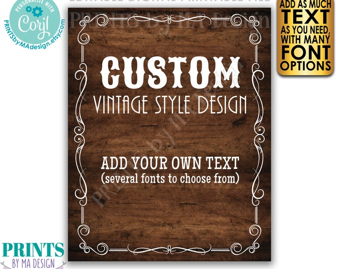 """Custom Vintage Style Sign, Better with Age Liquor Themed Party, One PRINTABLE 8x10/16x20"""" Rustic Wood Style Sign <Edit Yourself with Corjl>"""