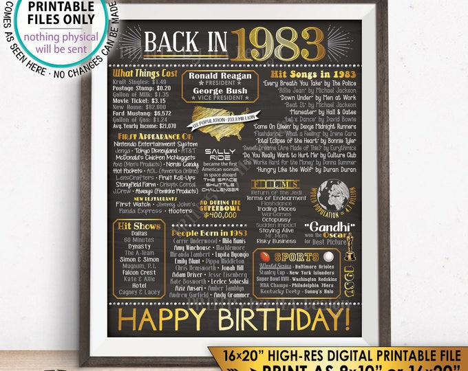 "35th Birthday Gift, Born in 1983 B-day 1983 Flashback 35 Years Back in 1983 Bday, Gold, PRINTABLE 8x10/16x20"" Chalkboard Style Sign <ID>"