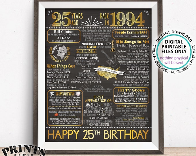 "25th Birthday Gift, Flashback 25 Years Ago Back in 1994 Born in 1994 Birthday, Gold, PRINTABLE 8x10/16x20"" Chalkboard Style B-day Sign <ID>"