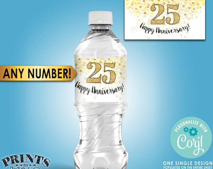 "Anniversary Water Bottle Labels, Gold Glitter Anniversary Party, PRINTABLE Water Bottle Labels on 8.5x11"" Sheet <Edit Yourself with Corjl>"