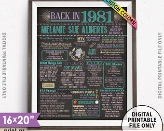 "1981 Birthday Flashback Poster, Back in 1981 Birthday Decorations, B-day Gift, Custom PRINTABLE 16x20"" Flashback Sign"