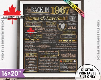 "1967 Anniversary Party Decor, Married in CANADA 1967 Flashback 1967, 51st Anniversary, Custom Chalkboard Style PRINTABLE 8x10/16x20"" Poster"