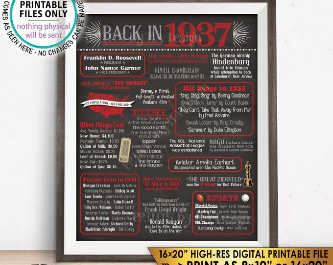 """1937 Flashback Poster, Flashback to 1937 USA History Back in 1937 Birthday Party, Red & Gray, Chalkboard Style PRINTABLE 16x20"""" Sign <ID>"""