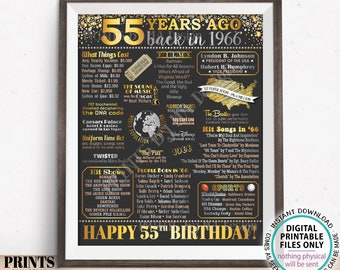 """55th Birthday Poster Board, Back in the Year 1966 Flashback 55 Years Ago B-day Gift, PRINTABLE 16x20"""" Born in 1966 Sign <ID>"""