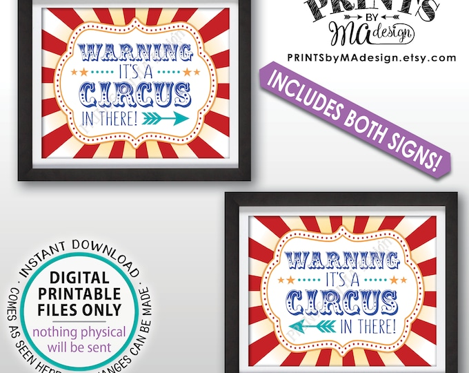 """Circus Entrance Sign, Warning It's a Circus In There Birthday Entrance Arrows, Two PRINTABLE 8x10/16x20"""" Carnival Direction Signs <ID>"""
