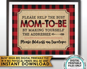 "Address an Envelope Sign, Baby Shower Thank You Address Sign, Make Yourself the Addressee Lumberjack Sign, PRINTABLE 8x10"" Instant Download"