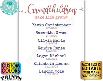 Grandchildren Make Life Grand, List of Grandkids, Gift for Grandparents, Grandma, Grandpa, PRINTABLE Sign <Edit Yourself w/Corjl>