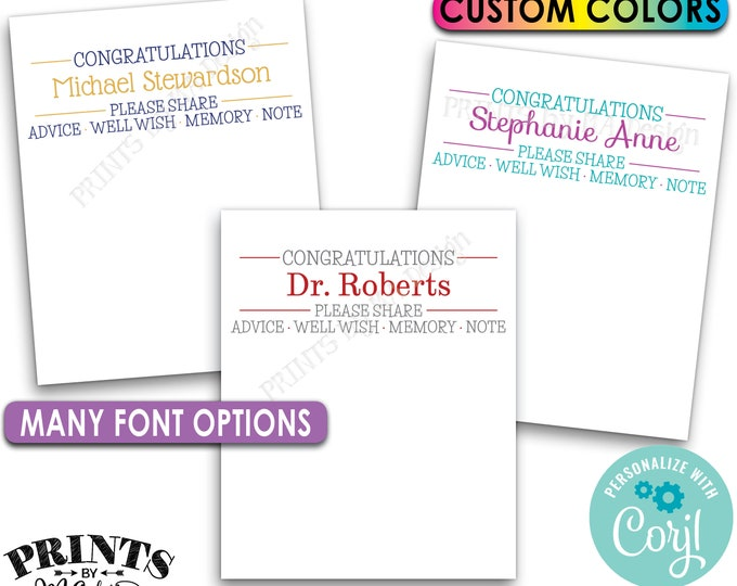"Congratulations Cards, Memory Advice Wishes, Graduation Party, Retirement, PRINTABLE 8.5x11"" Sheet of 4x5"" Cards <Edit Yourself with Corjl>"