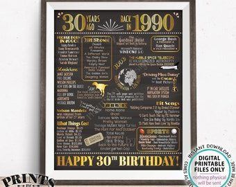 "30th Birthday Poster Board, Born in the Year 1990 Flashback 30 Years Ago B-day Gift, PRINTABLE 16x20"" Back in 1990 Sign <ID>"