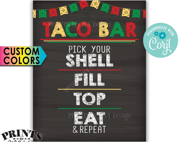 "Taco Bar Sign, Cinco de Mayo Taco Bar Fiesta, Custom Colors PRINTABLE 8x10/16x20"" Chalkboard Style Tacos Sign <Edit Yourself with Corjl>"