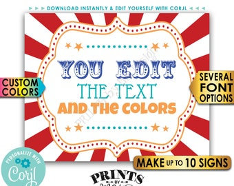"Custom Carnival Signs, Carnival Theme Party, Circus Birthday, Make Up to 10 PRINTABLE 8x10/16x20"" Carnival Signs <Edit Yourself with Corjl>"
