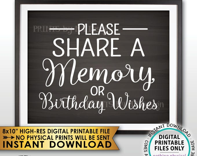 """Share a Memory or Birthday Wishes Sign, Write a Memory Share Memories, Bday Wish, PRINTABLE 8x10"""" Chalkboard Style Birthday Party Sign <ID>"""