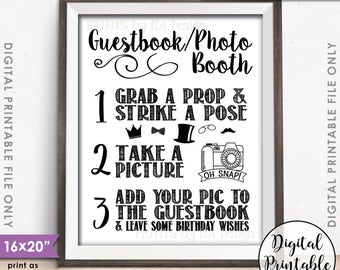 "Guestbook Photobooth Sign, Birthday Party Decor, Add photo to the Guest Book Photo Booth Birthday Wish, 16x20"" Printable Instant Download"