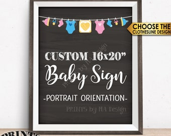 "Custom Baby Sign, Baby Shower Decorations, Pregnancy, Choose Your Text, Clothesline, PRINTABLE 8x10/16x20"" Portrait Chalkboard Style Sign"