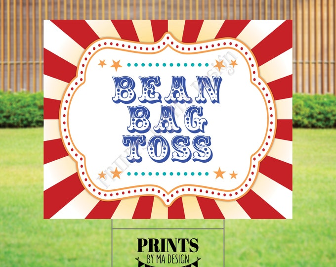 """Bean Bag Toss Carnival Party Sign, Carnival Games, Circus Party Activities, PRINTABLE 8x10/16x20"""" Bean Bag Toss Sign <ID>"""