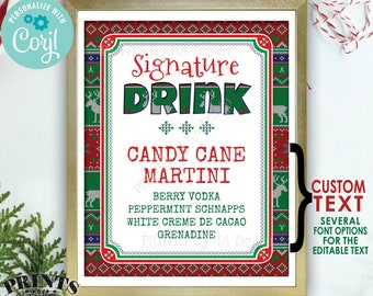 """Signature Drink Sign, Ugly Christmas Sweater Party, X-mas Party Drink, Custom PRINTABLE 8x10/16x20"""" Sign <Edit Yourself with Corjl>"""