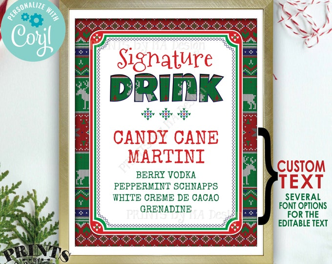 "Signature Drink Sign, Ugly Christmas Sweater Party, X-mas Party Drink, Custom PRINTABLE 8x10/16x20"" Sign <Edit Yourself with Corjl>"