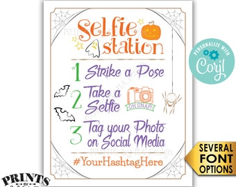 """Halloween Party Selfie Station Sign, Tag your Photo, Share on Social Media, PRINTABLE 8x10/16x20"""" Hashtag Sign <Edit Yourself with Corjl>"""