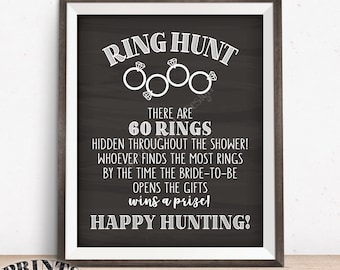 "Ring Hunt Game, Ring Hunt Sign, Bridal Shower Game, Ring Scavenger Hunt Game for Wedding Shower, PRINTABLE 8x10/16x20"" Chalkboard Style Sign"