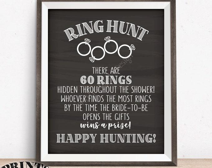 "Ring Hunt Game, Ring Hunt Sign, Bridal Shower Game, Ring Scavenger Hunt Game for Wedding Shower, PRINTABLE 8x10/16x20"" Chalkboard Style Sign"