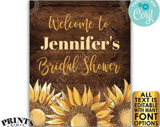 "Editable Sunflower Bridal Shower Sign, Wedding Shower Welcome Sign, PRINTABLE 8x10/16x20"" Rustic Wood Style Sign <Edit Yourself w/Corjl>"