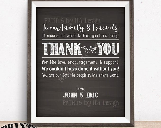 """Thank You Sign, Thanks from the Graduates Thank You Poster Graduation Party Decoration, PRINTABLE 8x10/16x20"""" Chalkboard Style Grads Sign"""