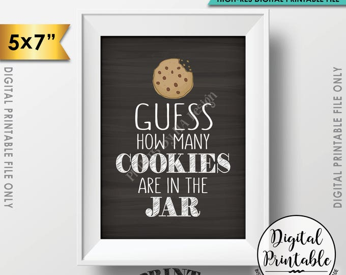 """Guess How Many Cookies are in the Jar Sign, Guess the Number of Cookies, Cookie Game, 5x7"""" Chalkboard Style Printable Instant Download"""