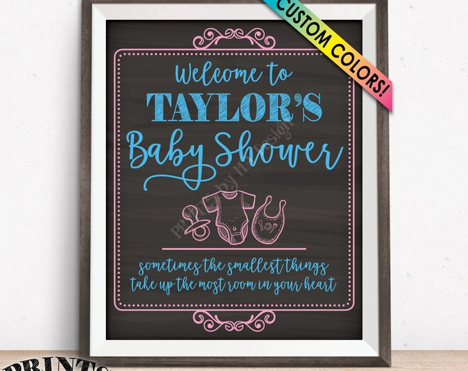 "Baby Shower Welcome Sign, Welcome to the Baby Shower Sign Personalized Baby Shower Decor, Custom PRINTABLE 8x10/16x20"" Chalkboard Style Sign"