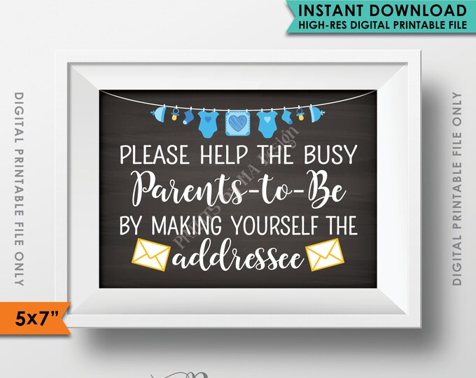 "Address Envelope Sign, Baby Shower Help Parents-to-Be Address envelope, Blue Clothesline, Instant Download 5x7"" Chalkboard Style Printable"