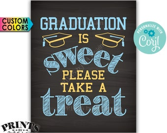 """Graduation is Sweet Please Take a Treat Candy Bar Sign, PRINTABLE Chalkboard Style 8x10"""" Grad Party Decoration <Edit Yourself with Corjl>"""
