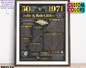 "50th Anniversary Poster Board, Married in 1971 Anniversary Gift, Back in 1971 Flashback 50 Years, Custom PRINTABLE 16x20"" 1971 Sign"