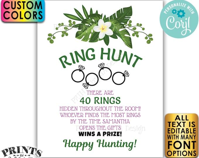 "Tropical Bridal Shower Ring Hunt Game Sign, Wedding Shower Scavenger Hunt, PRINTABLE 8x10/16x20"" Sign, Caribbean <Edit Yourself with Corjl>"
