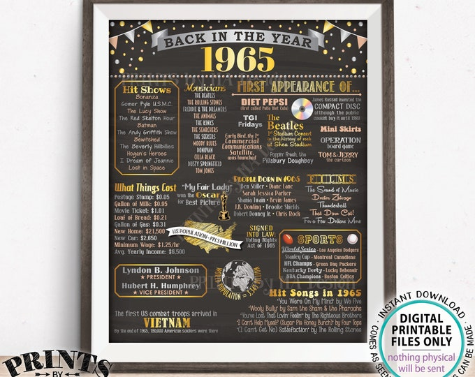 "1965 Flashback Poster, Flashback to 1965 USA History Back in 1965 Birthday Anniversary Reunion, PRINTABLE 16x20"" Sign <ID>"