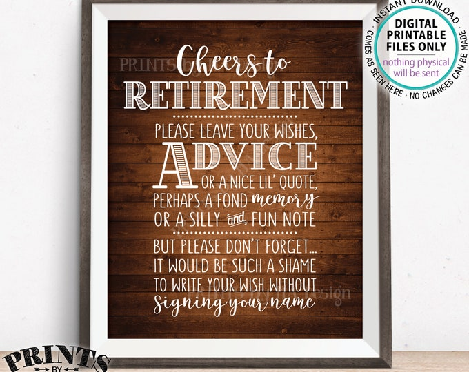"Cheers to Retirement Party Sign, Leave Your Wish, Advice, or Memory for the Retiree Celebration, PRINTABLE Rustic Wood Style 8x10"" Sign <ID>"